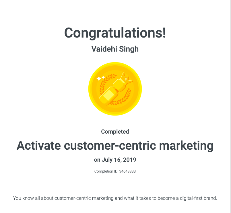 customer-centric marketing google certified vaidehi